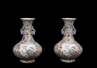 A PAIR OF CHINESE MILLE FLEURS VASES