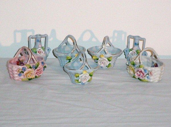 1: Five German porcelain miniatures; five baskets and t