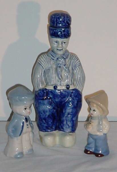 "4: Three Dutch porcelain figures, tallest Gouda 7 3/4"""