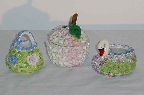 5: Three-pieces of Dresden style porcelain.