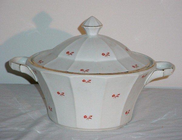 7: German porcelain soup tureen. Diameter over handle 1