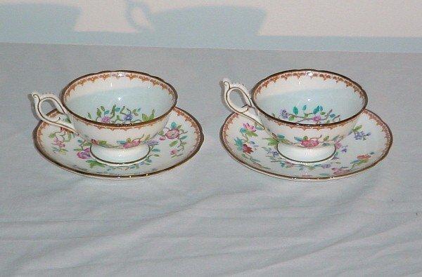 "8: Two Coalport porcelain cups and saucers ""Pembroke -"