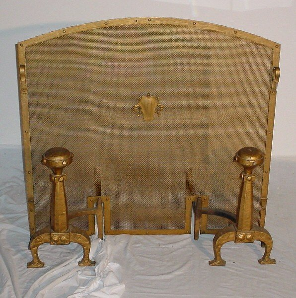 136: 19th/20th C Renaissance style painted iron firescr