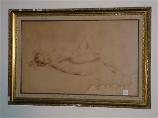 """Reclining nude color pencil drawing on paper, 15"""" x"""