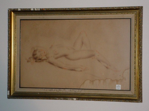 """2: Reclining nude color pencil drawing on paper, 15"""" x"""
