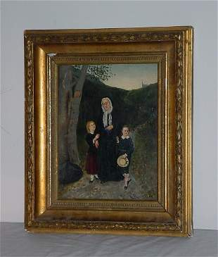 """A. Haavin, 19th century """"Coming from Church"""" oil on"""