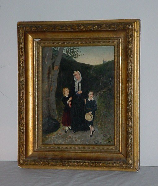 """3: A. Haavin, 19th century """"Coming from Church"""" oil on"""