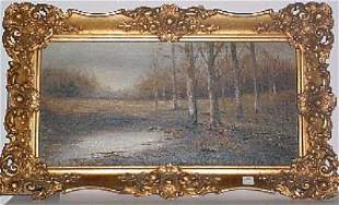 "Oil on canvas ""Birch Trees"" 11 1/4"" x 23 1/4"" Signe"