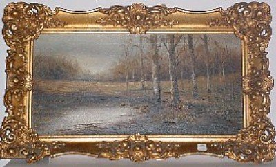 "5: Oil on canvas ""Birch Trees""  11 1/4"" x 23 1/4"" Signe"