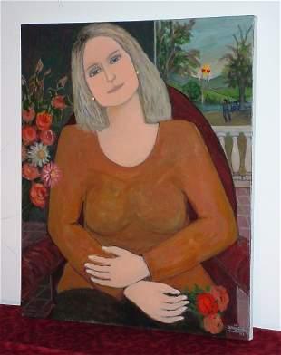 """Harry Jacques (Arijac) Haiti b. 1937 """"Fleurs Femme E"""