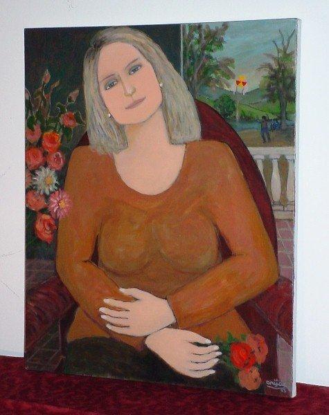 """7: Harry Jacques (Arijac) Haiti b. 1937 """"Fleurs Femme E"""