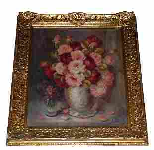 """Oil on canvas """"Still Life"""", signed indecipherably l"""