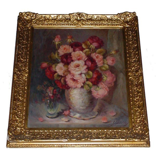 """10: Oil on canvas """"Still Life"""", signed indecipherably l"""