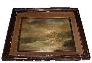 """Oil on canvas """"Stormy Sea"""" signed lower right: D. M"""