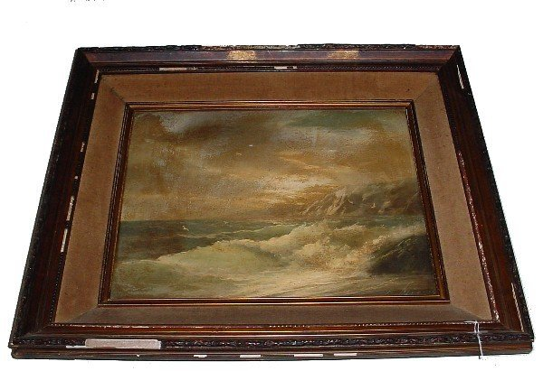 """11: Oil on canvas """"Stormy Sea"""" signed lower right: D. M"""