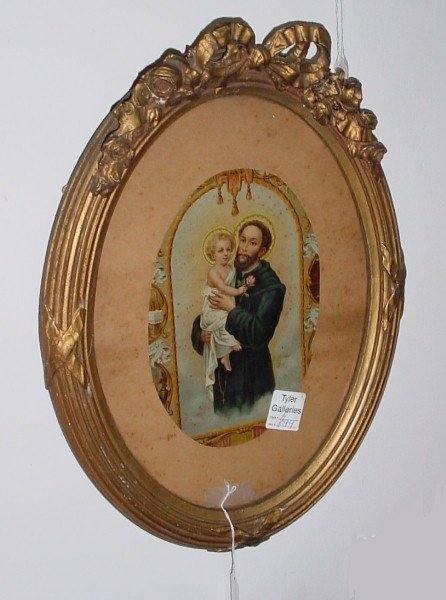 15: 19th C Continental chromolithograph, framed religio