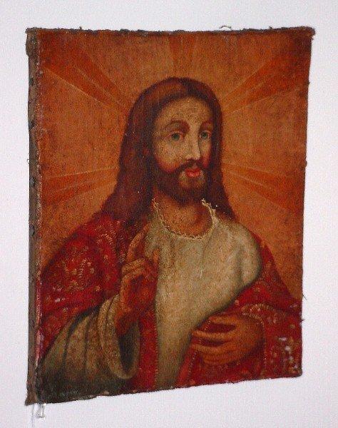 "16: 18th century style Cusco school oil on canvas ""Jesu"