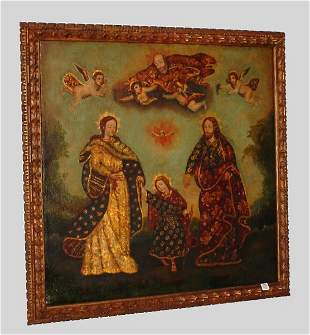 "18th century style Cusco school oil on canvas ""Arc"
