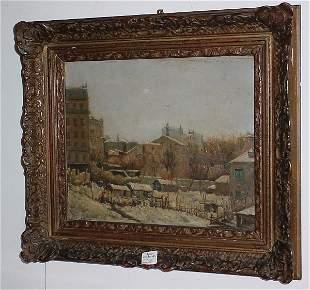 "19th C Continental oil on panel, ""Village scene"" si"