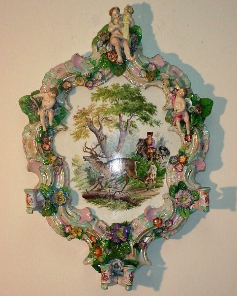 99: 19th C Meissen style large porcelain wall sconce. S