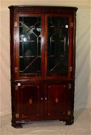 114: Fine George III period inlaid mahogany floor stand