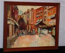 232 20th C Impressionist Street Scene oil on canvas b