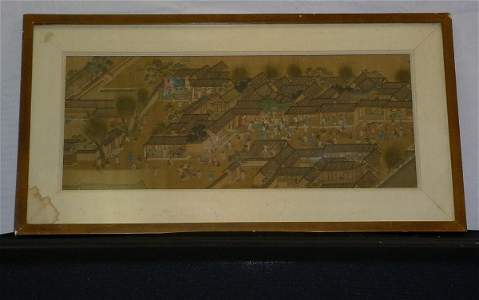 """242: Traditional Chinese painting on silk """"Genre Scene"""""""