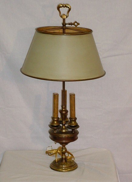 381: French brass three-light bouillotte lamp with tole