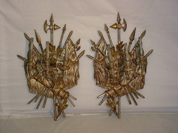 387: Pair 19th C Continental carved and silver-gilt thr