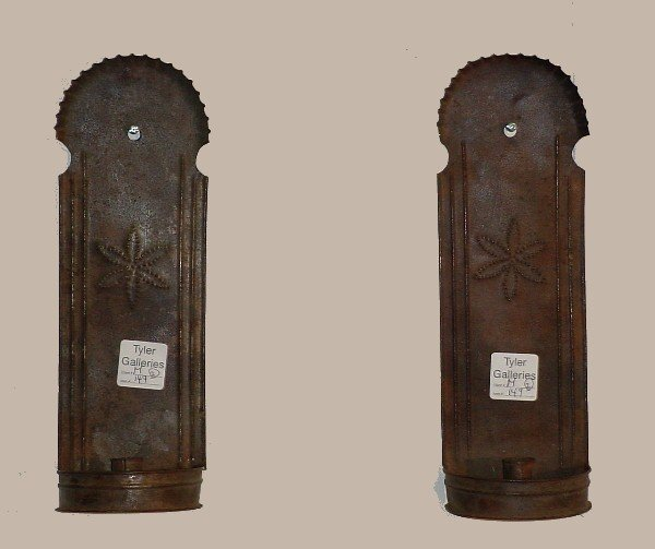 391: Pair of French tole single-light wall sconces.