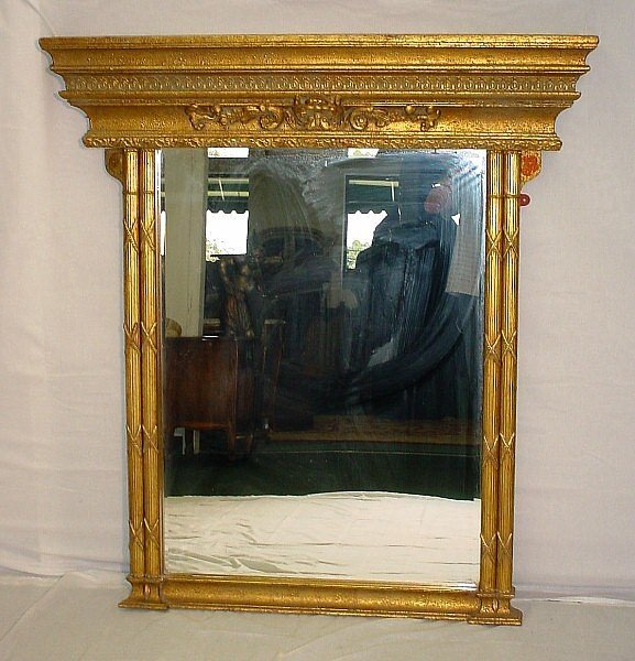 395: 19th C French Louis XVI style giltwood over mantel
