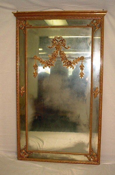 399: 18th C French Louis XVI giltwood carved trumeau. T