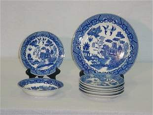 """8 Pieces Japanese Export Willow Ware. Largest: 9"""" [2"""