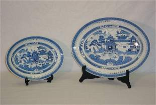 """2 Chinese Export porcelain platters. 16"""" x 12"""", 12"""""""