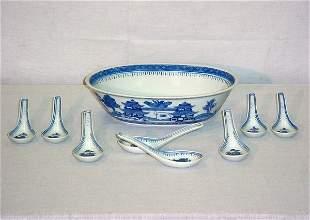 9 Pieces Chinese Export porcelain. Serving bowl: 2