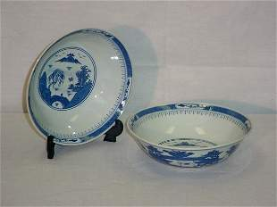 """2 Chinese Export porcelain bowls. 2 1/2"""" x 8"""" [50/1"""