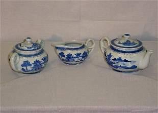 """3 Piece Chinese Export porcelain tea set. Teapot 9"""""""