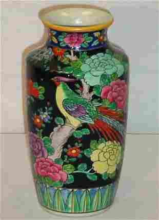 Chinese Export famille noir porcelain vase. H: 9 1/
