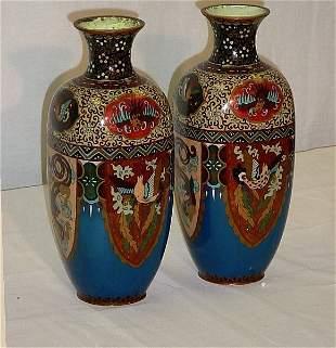 "Pair 19th C Chinese cloisonné vases. H: 12"" [400/60"