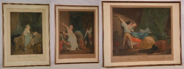 "116: Three 19th C French color engravings. 19 1/2"" x 15"