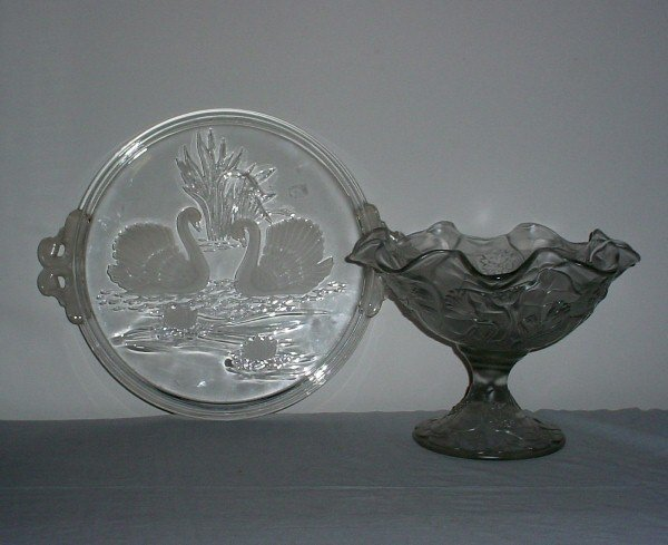 1: Two pieces of colorless glass, an etched glass tray