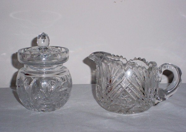 6: Cut glass sugar and creamer (not a matched set)
