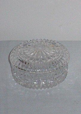 9: Cut glass circular covered box.
