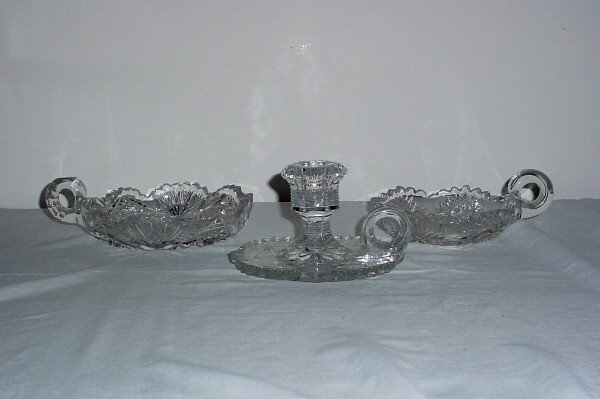 10: Two cut glass nappys and a pressed glass