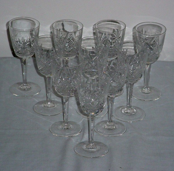 16: Ten colorless cut crystal wine glasses