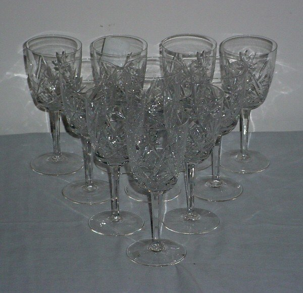 18: Ten colorless cut crystal water glasses
