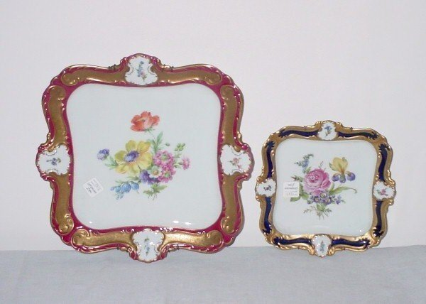 24: Two Continental hand painted porcelain square-form