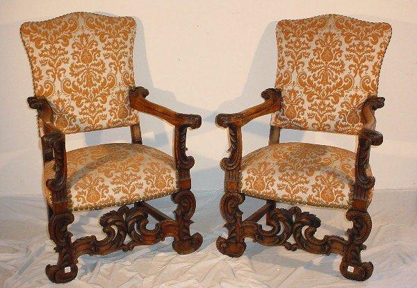 101: Pair 19th C Italian carved walnut armchairs
