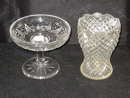 """3: Cut glass compote and spooner. 5 1/2 and 6 1/2"""""""