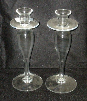 4: Pair of crystal candlesticks. 12 1/2